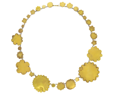 Gold and Silver Superflat Flowery Necklace