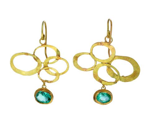 Oval Swooshy Earrings with Emerald Dangles