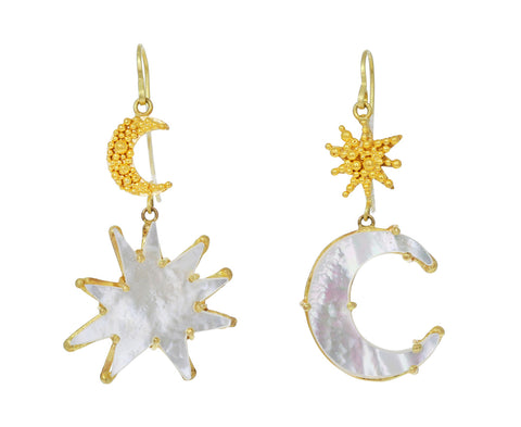 Mother-of-Pearl Moon and Star Earrings