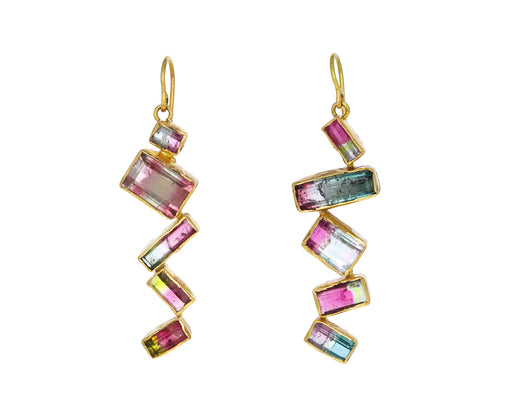 Watermelon Tourmaline Zig Zag Earrings