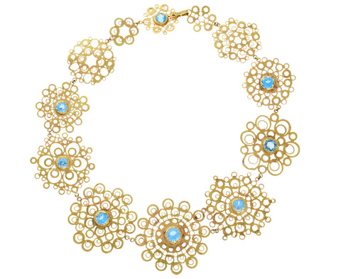 Gold and Blue Topaz Constellation Necklace