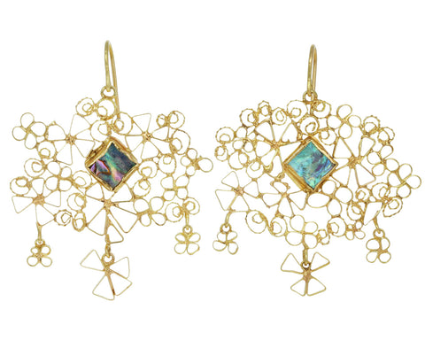 Gold and Abalone Wiener Werkstätte Earrings