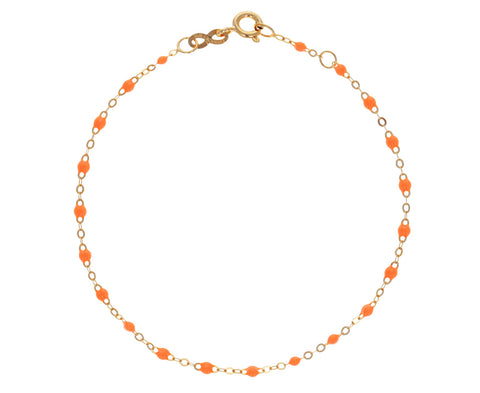 Neon Orange Resin Beaded Bracelet