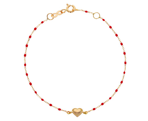 Red Resin Beaded Heart Bracelet