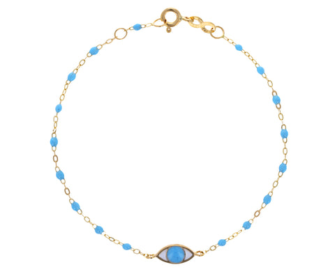 Baby Blue Evil Eye Resin Beaded Bracelet
