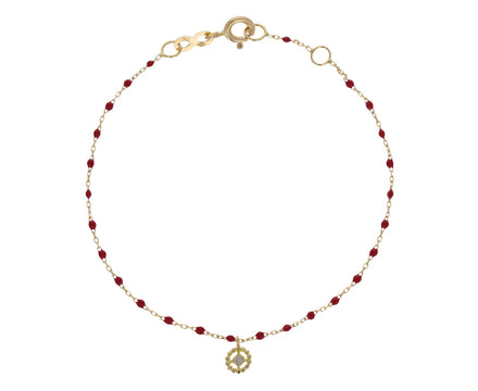 Red Resin Beaded Lucky Puce Bracelet