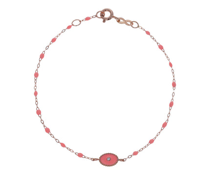 Salmon Pink North Star Resin Beaded Bracelet