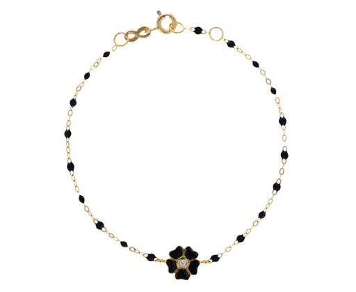 Black Enamel and Diamond Flower Beaded Bracelet