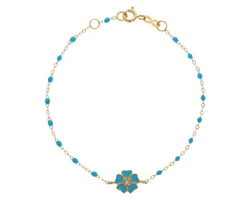 Turquoise Enamel and Diamond Flower Charm Beaded Bracelet