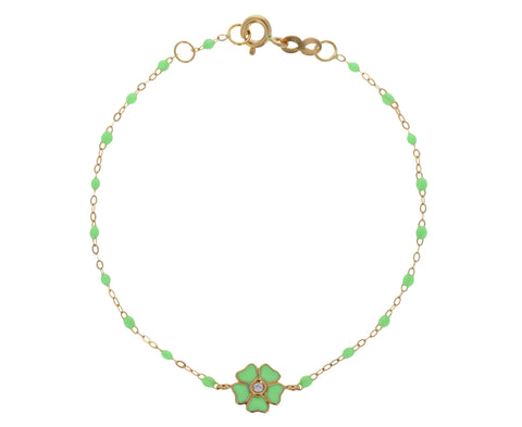 Neon Green Enamel and Diamond Flower Beaded Bracelet