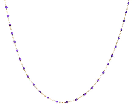 Short Violet Resin Beaded Necklace