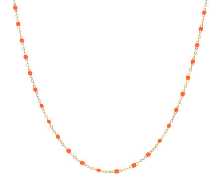 Short Neon Orange Resin Beaded Necklace
