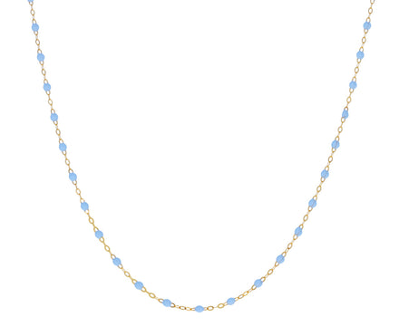 Short Baby Blue Resin Beaded Necklace