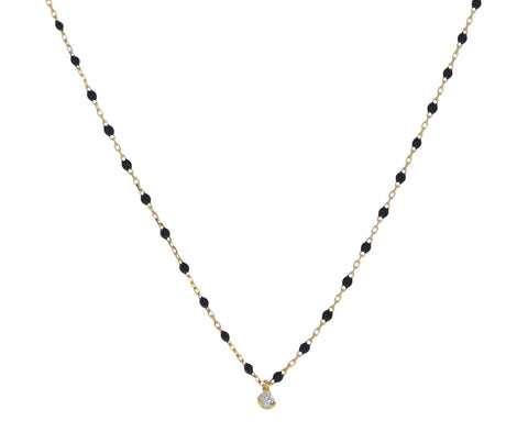 Diamond and Black Resin Beaded Mini Gigi Necklace