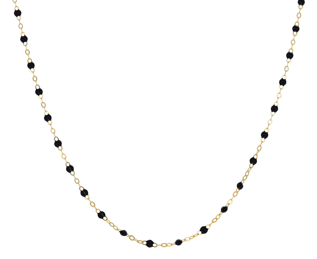Short Black Resin Beaded Necklace