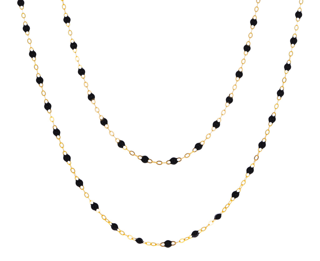 Long Black Resin Beaded Necklace