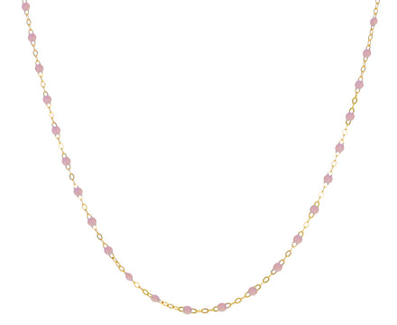 Short Baby Pink Resin Beaded Necklace