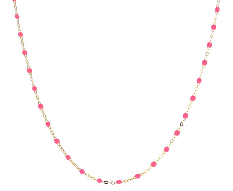 Short Neon Pink Resin Beaded Necklace