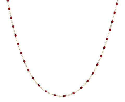 Cherry Red Resin Beaded Necklace