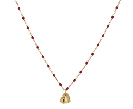 Red Resin Beaded Heart Necklace