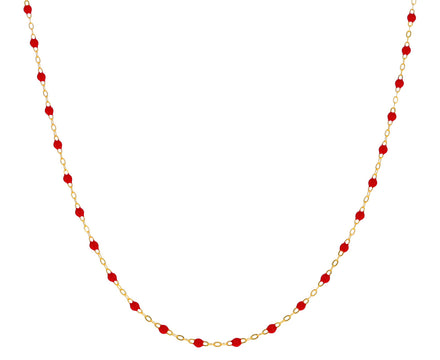 Short Red Resin Beaded Necklace