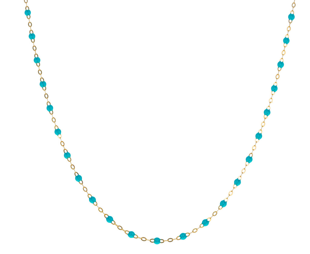 Short Turquoise Resin Beaded Necklace