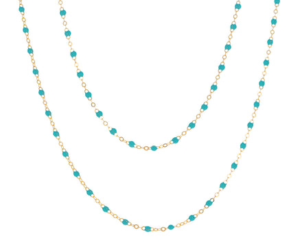 Long Turquoise Resin Beaded Necklace