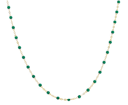Short Emerald Green Resin Beaded Necklace