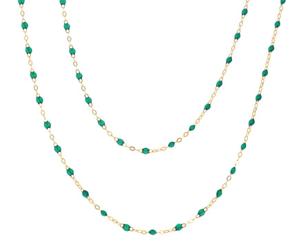 Long Emerald Green Resin Beaded Necklace