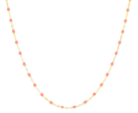 Short Salmon Pink Resin Beaded Necklace