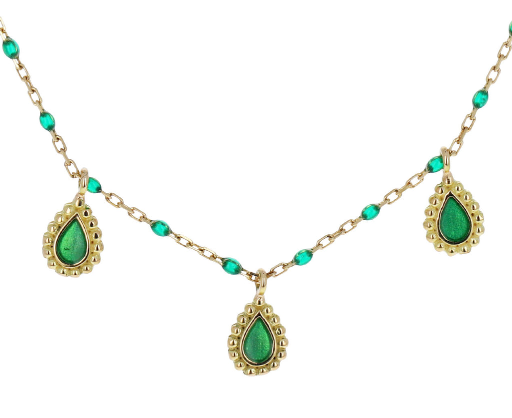 Emerald Green Resin Lucky Cashmere Necklace