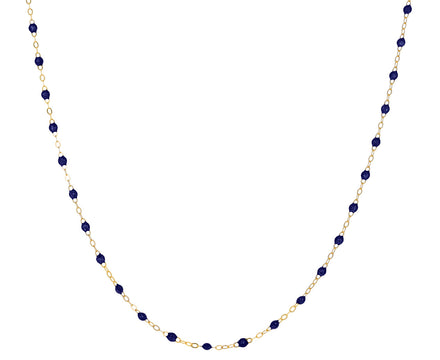Short Midnight Blue Resin Beaded Necklace