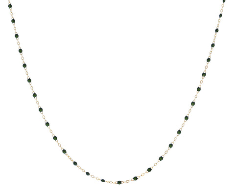 Short Scarab Green Resin Beaded Necklace
