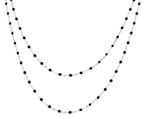 White Gold Long Black Resin Beaded Necklace