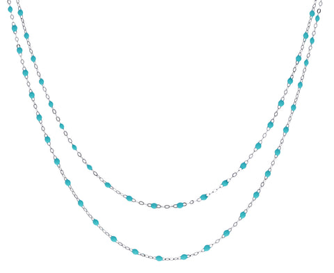 White Gold Long Lagoon Resin Beaded Necklace