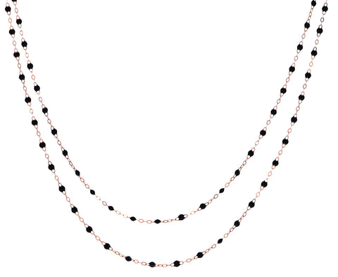Long Rose Gold Black Resin Beaded Necklace