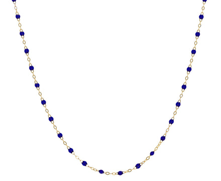 Short Prussian Blue Resin Beaded Necklace