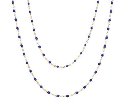 Long Prussian Blue Resin Beaded Necklace