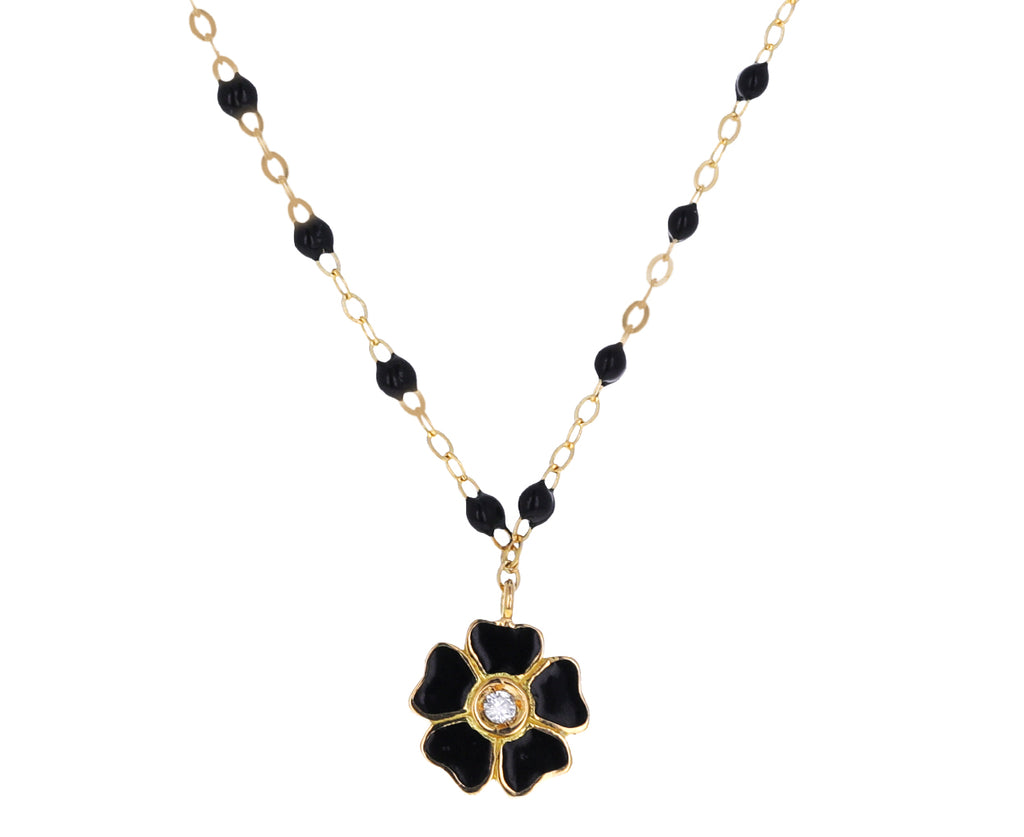 Black Enamel and Diamond Flower Beaded Necklace