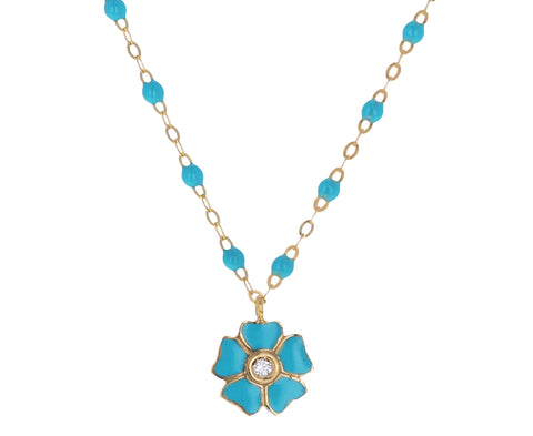Turquoise Enamel Flower Resin Beaded Necklace