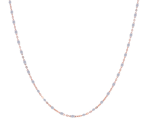 Short Rose Gold White Resin Beaded Necklace