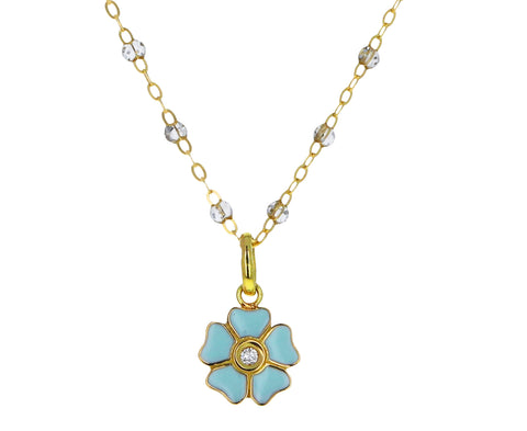 Blue Jade Enamel and Diamond Flower Pendant ONLY
