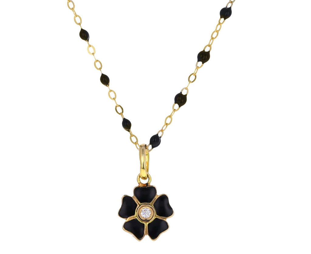 Black Enamel and Diamond Flower Pendant ONLY
