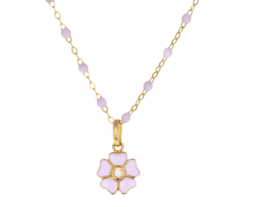 Baby Pink Enamel and Diamond Flower Pendant ONLY