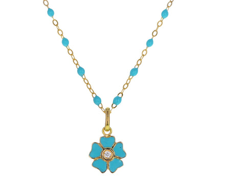 Turquoise Enamel and Diamond Flower Pendant ONLY