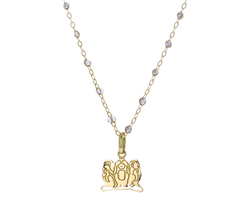 Gold Three Monkeys Charm Pendant ONLY