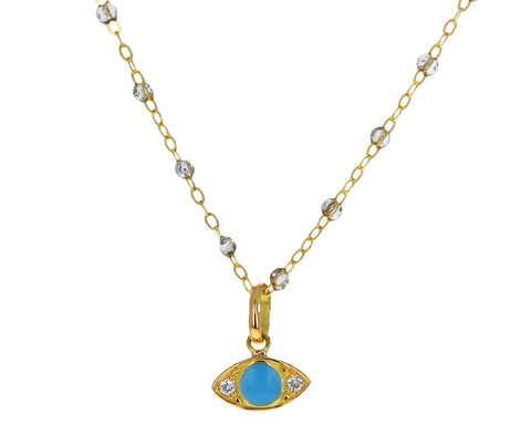 Turquoise Enamel and Diamond Evil Eye Charm Pendant ONLY
