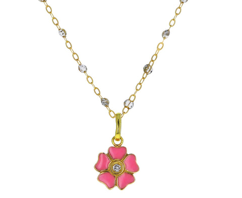 Pink Enamel and Diamond Flower Pendant ONLY