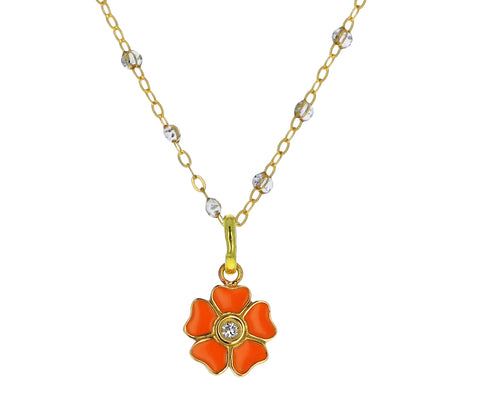 Mandarine Enamel and Diamond Flower Pendant ONLY