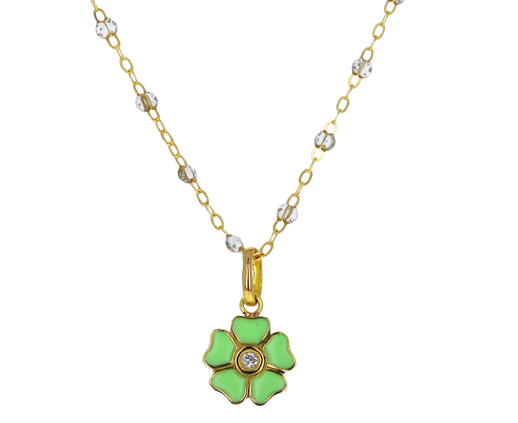 Neon Green Enamel and Diamond Flower Pendant ONLY